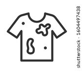 dirty t shirt  linear icon.... | Shutterstock .eps vector #1604497438