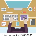 workplace of designer with... | Shutterstock .eps vector #160453355