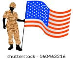 vector drawing of a soldier in... | Shutterstock .eps vector #160463216