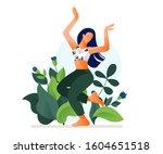 happy dancing girl or woman... | Shutterstock .eps vector #1604651518