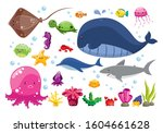 set of cartoon sea animals ... | Shutterstock .eps vector #1604661628