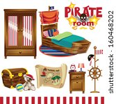 pirate room set | Shutterstock .eps vector #160468202