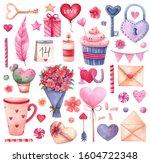 big watercolor set of elements... | Shutterstock . vector #1604722348