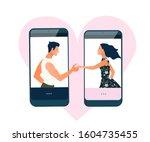 virtual relationships  online...   Shutterstock .eps vector #1604735455