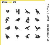 birds icons set with goose ... | Shutterstock . vector #1604777482