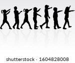 silhouette of children on white ... | Shutterstock . vector #1604828008