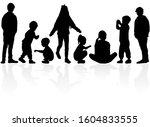 black children silhoueettes.... | Shutterstock . vector #1604833555