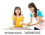 smiling girl with food
