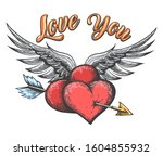 winged hearts pierced by arrow... | Shutterstock .eps vector #1604855932
