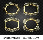 ornate glowing borders. old... | Shutterstock . vector #1604870695
