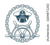 captain hat and steering wheel... | Shutterstock . vector #1604871202