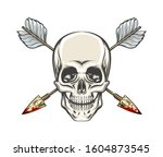 human skull with crossed arrows ... | Shutterstock . vector #1604873545