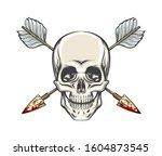 human skull with crossed arrows ... | Shutterstock . vector #1604873545