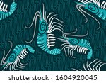 Seamless Pattern With Shrimp...
