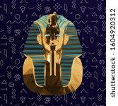 gold tutankhamun burial mask on ... | Shutterstock .eps vector #1604920312