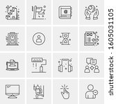16 universal business icons... | Shutterstock .eps vector #1605031105
