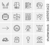 16 universal business icons... | Shutterstock .eps vector #1605051622
