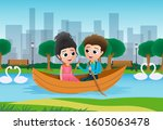 Valentine Couple Boating Vector ...