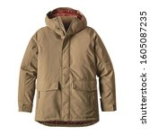 Small photo of Men's Brown Winter Windproof Parka Coat Isolated on White Background. Waterproof Jacket with Adjustable Hood & Interior Collar. Best Warm Cotton Outdoor Clothing for Hiking Travel. 2-Layer Nylon Shell