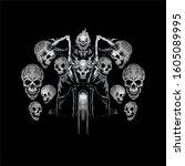 skull motorbike t shirts design | Shutterstock .eps vector #1605089995