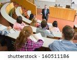 elegant teacher with students... | Shutterstock . vector #160511186