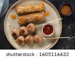 Beige Plate With Nem Nuong Or...