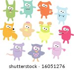 vector set of funny pets 1 | Shutterstock .eps vector #16051276