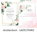 retro delicate wedding cards... | Shutterstock .eps vector #1605170482