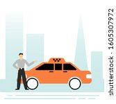 taxi driver. taxi ordering...   Shutterstock .eps vector #1605307972
