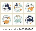 set of posters with cute... | Shutterstock .eps vector #1605320965