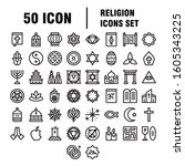 simple religion icons set.... | Shutterstock .eps vector #1605343225