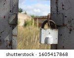 old padlock on opened metal...   Shutterstock . vector #1605417868