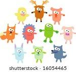 vector set of funny pets 02 | Shutterstock .eps vector #16054465