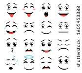 set of different emoticons.... | Shutterstock .eps vector #1605453388