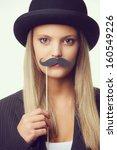 blonde girl with mustache... | Shutterstock . vector #160549226