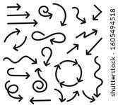 black arrows set. flat web... | Shutterstock . vector #1605494518