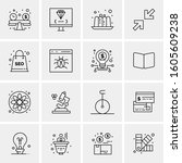 16 universal business icons... | Shutterstock .eps vector #1605609238