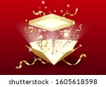 open the gift box with bright... | Shutterstock . vector #1605618598