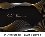 abstract gold waves design.... | Shutterstock . vector #1605618955