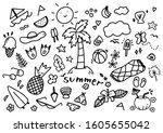 big set of hand drawn summer... | Shutterstock .eps vector #1605655042