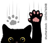 naughty cat scratches window... | Shutterstock .eps vector #1605676048