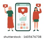 young women with like... | Shutterstock .eps vector #1605676738