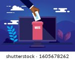 poster of vote online with... | Shutterstock .eps vector #1605678262