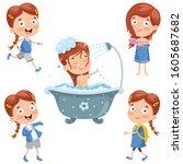 little kid making daily routine ... | Shutterstock .eps vector #1605687682