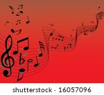 musical note staff on the red... | Shutterstock .eps vector #16057096