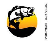 Bass Fishing Logo. A Sunrise  ...
