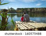 father and son fishing | Shutterstock . vector #160575488