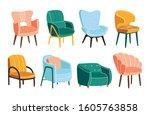 comfortable armchairs vector... | Shutterstock .eps vector #1605763858