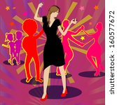 woman dancing alone while... | Shutterstock .eps vector #160577672