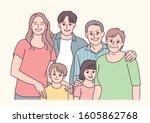 happy family portrait. hand... | Shutterstock .eps vector #1605862768
